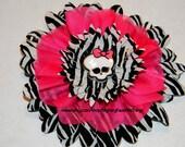 Monster High Hot Pink Organza Zebra Girls Hair Flower Accessory Clip Bow