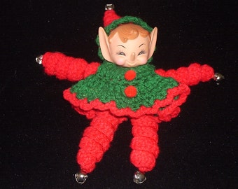Pixie Christmas Ornament Hand Knitt