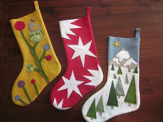 Items similar to Wool Felt Christmas Stockings on Etsy