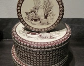 Three Brown and Tan Tins with Kitchen Scene and Flowers