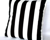 Black Pillow Cover - Canopy Striped, Optional Zipper - 18x18 or 20x20 inch Decorative Throw Cushion Cover - Black and White Stripes