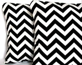 Black and White Throw Pillow Cover - Chevron - 18x18 or 20 x 20 inch Decorative Cushion Cover - Black Zig Zag