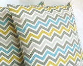 Yellow Blue Throw Pillow Cover, Chevron, Optional Zipper - 18x18 or 20x20 inch Decorative Toss Cushion Cover - Blue Yellow Grey Zig Zag