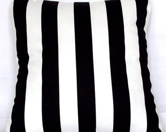 Striped Black and White Pillow Cover, 18x18 or 20x20 inch Decorative Throw Cushion Cover - Black White Canopy Stripes