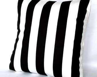 Black and White Pillow Cover - Optional Zipper - 18x18 or 20x20 inch Striped Decorative Cushion Cover - Black White Canopy Stripes