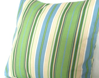 SALE Blue and Green Throw Pillow Cover - Striped 18x18 inch Decorative Toss Cushion Cover - Wide Spa Stripe