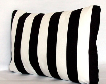 Lumbar Pillow Cover - 12x16, 12x18, or 14x20 inch Striped Travel Cushion Cover - Available in Black, Red or Navy Canopy Stripes