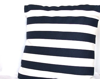 Blue White Throw Pillow Cover - Canopy Stripes, Optional Zipper - 18x18 or 20x20 inch Decorative Cushion Cover - Dark Blue and White Stripes