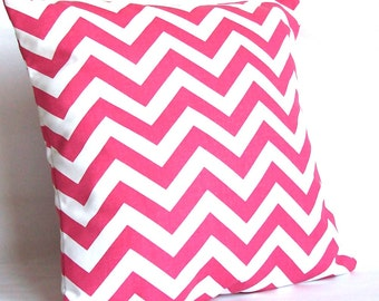 SALE Pink Decorative Throw Pillow Cover, Chevron - 18x18 or 20x20 inch Sofa Toss Cushion Cover - Candy Pink and White Zig Zag