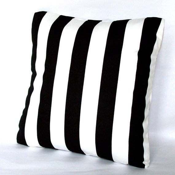 Black Pillow Cover - Stripes - 16x16 or 14x14 inch Striped Throw Cushion Cover - Black and White Canopy Stripes