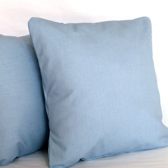 Blue Pillow Cover - 20x20 inch Solid Decorative Cushion Cover - Light Blue