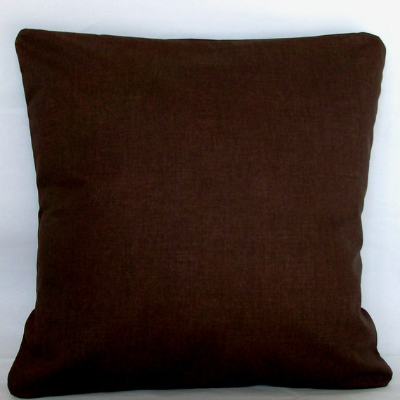 Items similar to Solid Brown Pillow Cover - 22x22, 24x24 or Euro 26x26 inch Decorative Cushion ...
