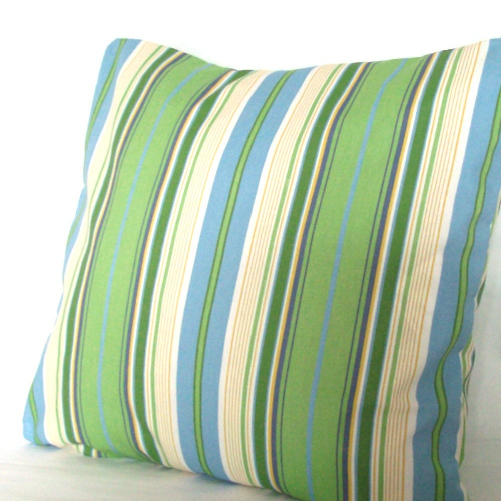 Blue Striped Throw Pillow Cover : SALE Blue and Green Throw Pillow Cover Striped 18x18 inch