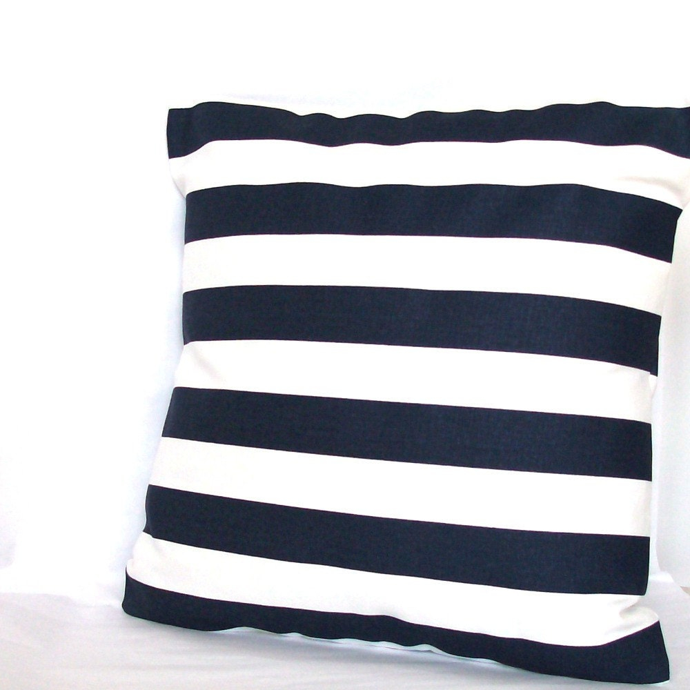 Blue Striped Throw Pillow Cover : Blue White Throw Pillow Cover Canopy Stripes by PureHomeAccents