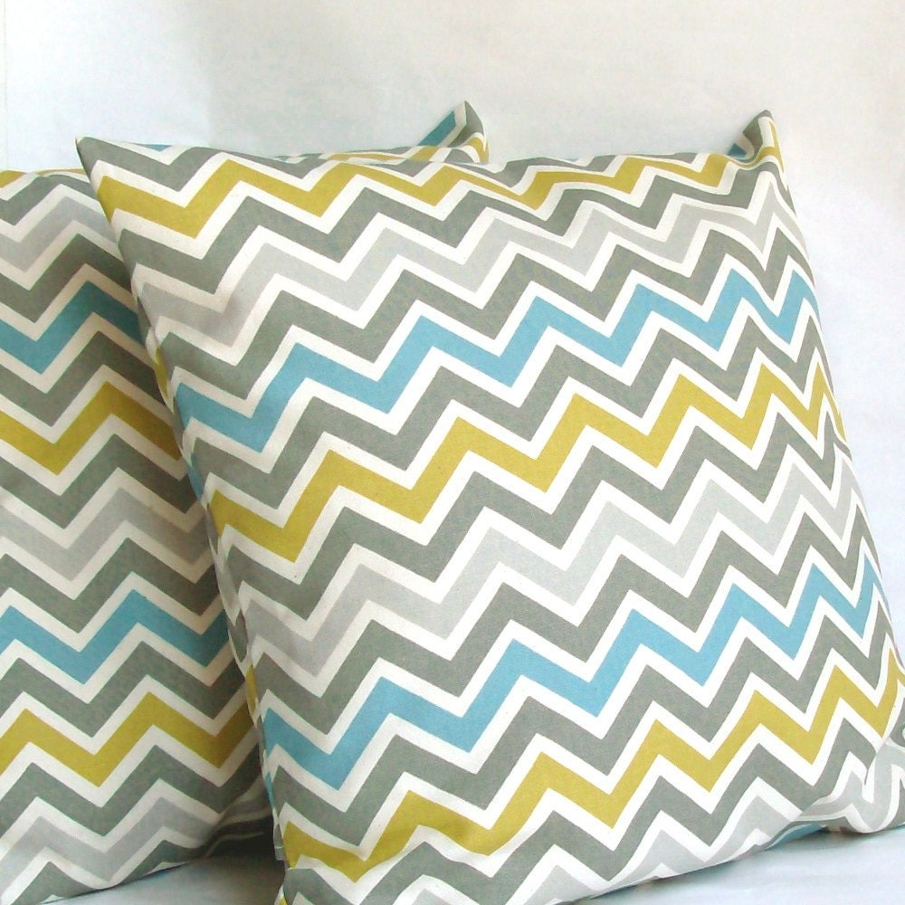 Blue Yellow Throw Pillow Cover Chevron 22x22 by PureHomeAccents