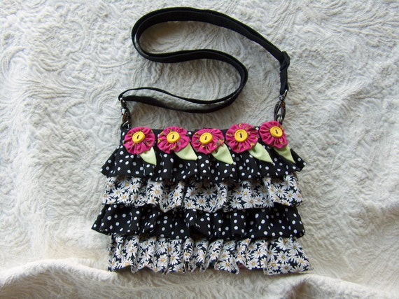 Black and White ruffle purse with bright pink flowers