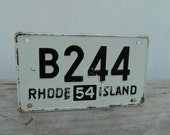 1950s Bicycle License plate Black and White Rhode Island