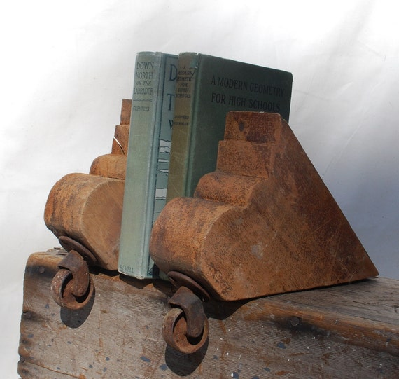 Repurposed Wooden Bookends Chair Legs Casters Urban Decor Home