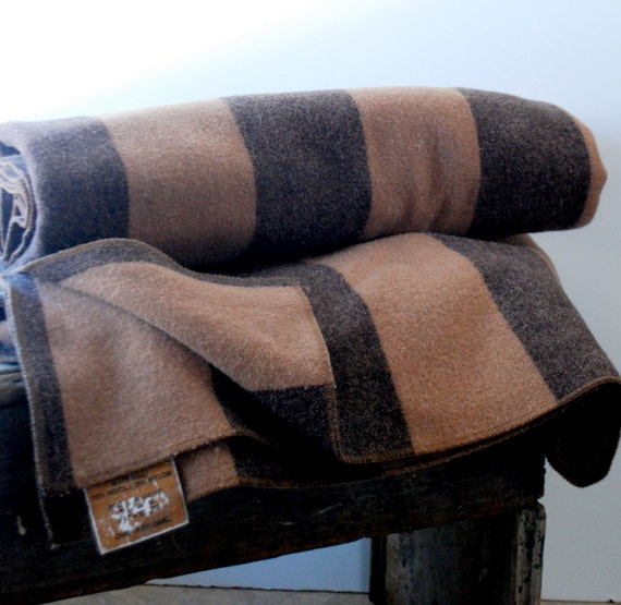 Vintage Wool Blanket  Striped Brown Camp Style Chocolate Caramel Two Tone by UrbanMarkt on Etsy