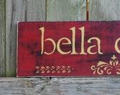 Custom Handpainted Distressed Red & Gold, Italian Bella Cucina sign