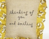 Burlap word pillow inspirational, tan, mustard white berries custom orders gift under 20  FREE SHIPPING