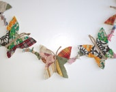 butterfly garland OOAK, upcycled vintage, garden (string of 5), nursery, baby shower, birthday party banner READY to SHIP