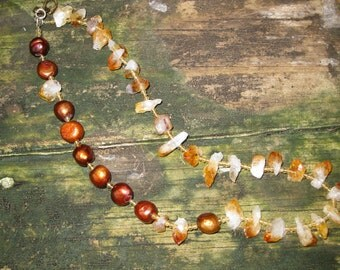 Necklace - Rays Of Warm Sun - Pearls and Citrine