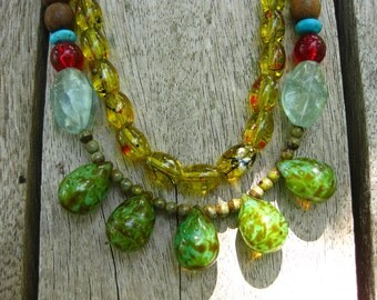 Summer -  Glass Teardrops, Wood Beads, Aquamarine, Turquoise Necklace