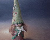 Sage Green Felt Wood Peg Fairy Gnome Doll with Pink Flower Details