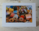 Card Vintage Sewing Notions Photography Blank Linen Greeting Wooden Spools Thread Thimble 5x7 Frameable