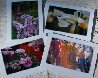 Farm Cards Photography Spring Farm Greeting Blank Linen Flowers Gardening Gloves Lilacs Iris Pansies 5x7 Frameable