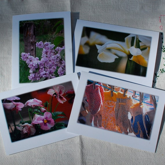 Farm Cards Photography Spring Farm Greeting Blank Linen Flowers Gardening Gloves Lilacs Iris Pansies 5x7 Frameable