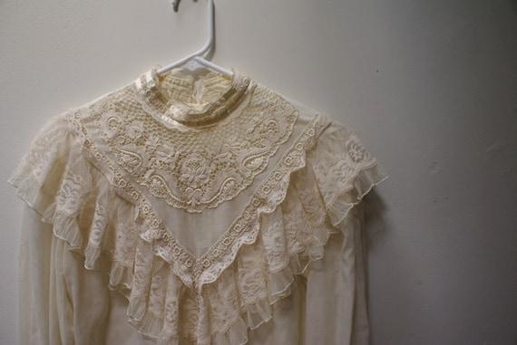 Early 1980's Lace/ Cotton Prairie Shirt SALE