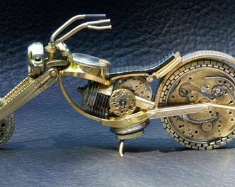 SOLD. Custom Orders Only   Chopper II - Handcrafted motorcycle from watch parts