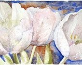 White Tulips Watercolor delicate spring blue mauve