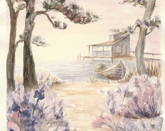 Misty Romantic Japanese Landscape art print pine trees sunrise lake lavender vanilla