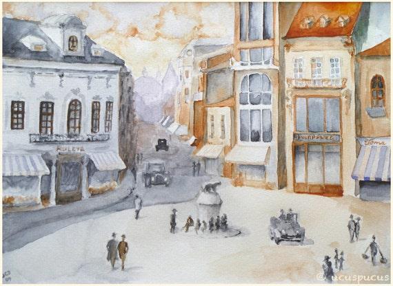 Romantic urban landscape Bucharest time travel Art Print