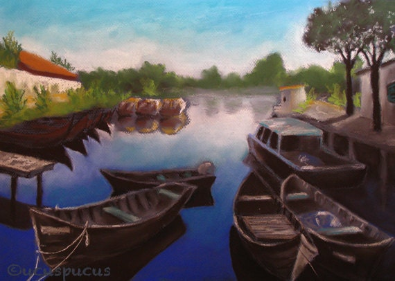 Fishing boats river Delta Danube art print navy blue