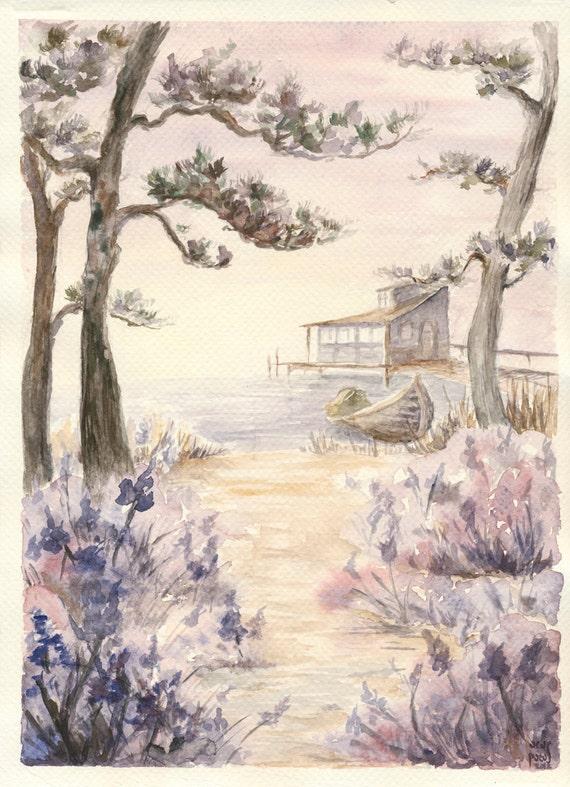 Misty Romantic Japanese Landscape art print pine trees sunrise lake lavender vanilla