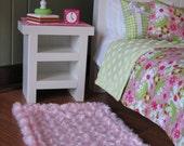 "American Girl sized / 18"" doll Bedroom Accessories - Nightstand / Runner / Lamp / Alarm Clock / Rug"
