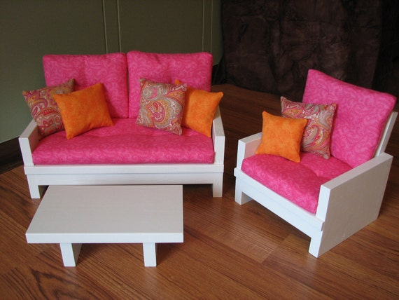 American Girl Sized 18 Doll Living Room Furniture Set