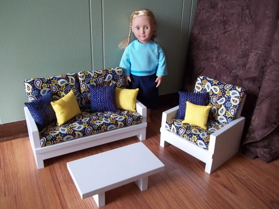 Items Similar To Doll Loveseat Chair Table Living Room