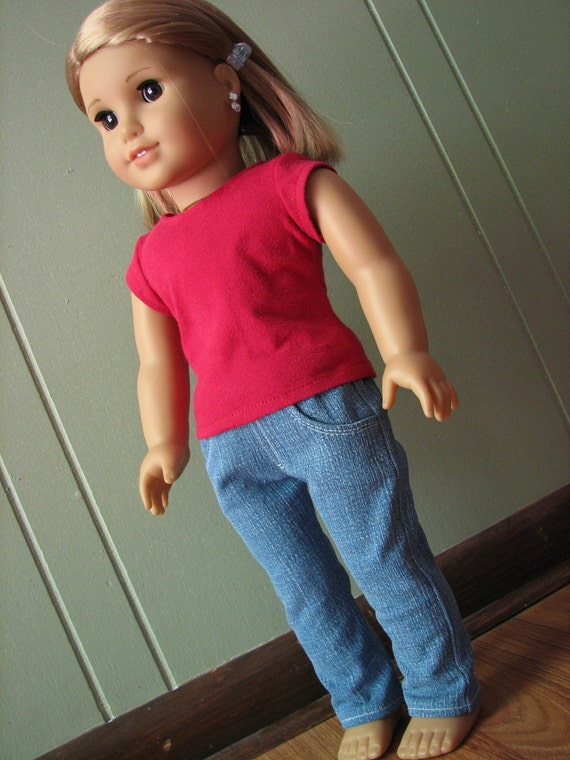 """American Girl Doll Clothes / 18"""" Doll Clothes - Jeans and Red T-Shirt"""