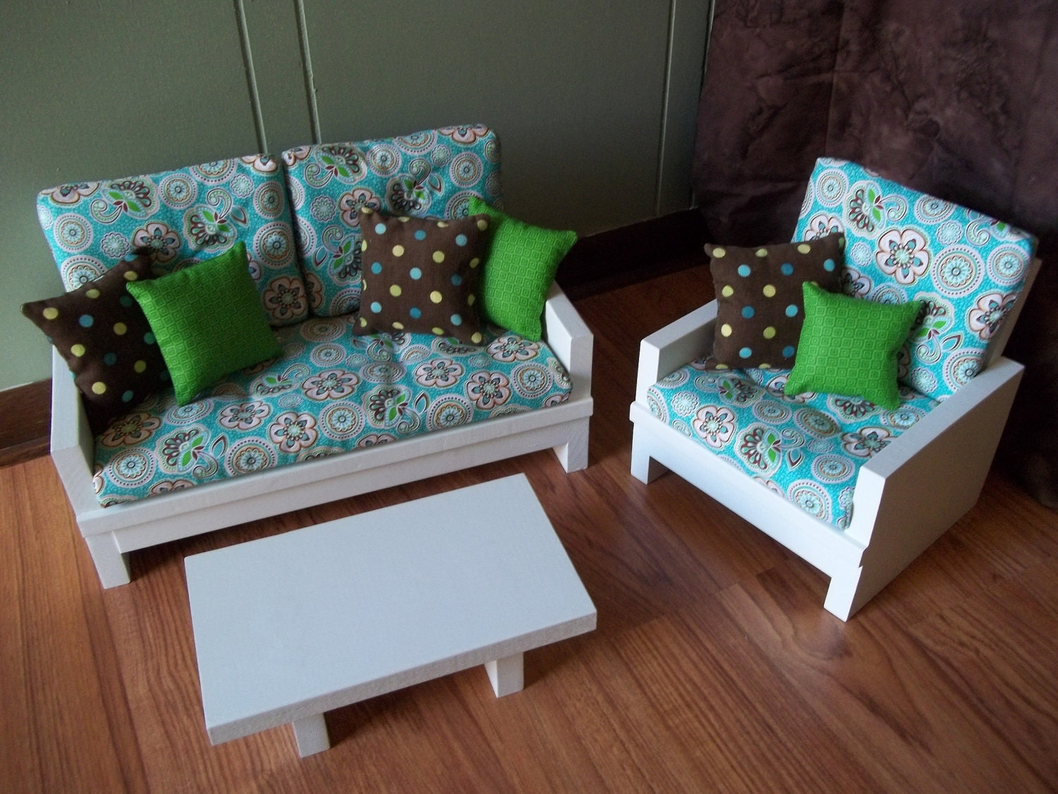 Doll Loveseat Chair Table Living Room Furniture Set For