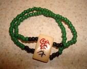 double beaded mah jong tile bracelet