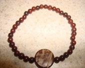Unisex Jasper Wooden charm bracelet
