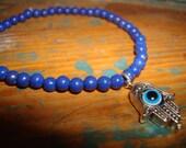 Lapis Stone Hamsa/Evil Eye Bracelet
