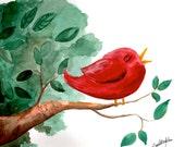 "Red Bird ART PRINT.  8.5"" x 11""of original watercolor painting"