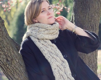 Rolling Cables Scarf (cabled scarf knitting pattern)