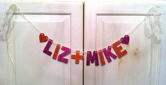 Custom Banner with Couples Names -- Wedding Decoration, Engagement Pary, Photo Prop, Bridal Shower